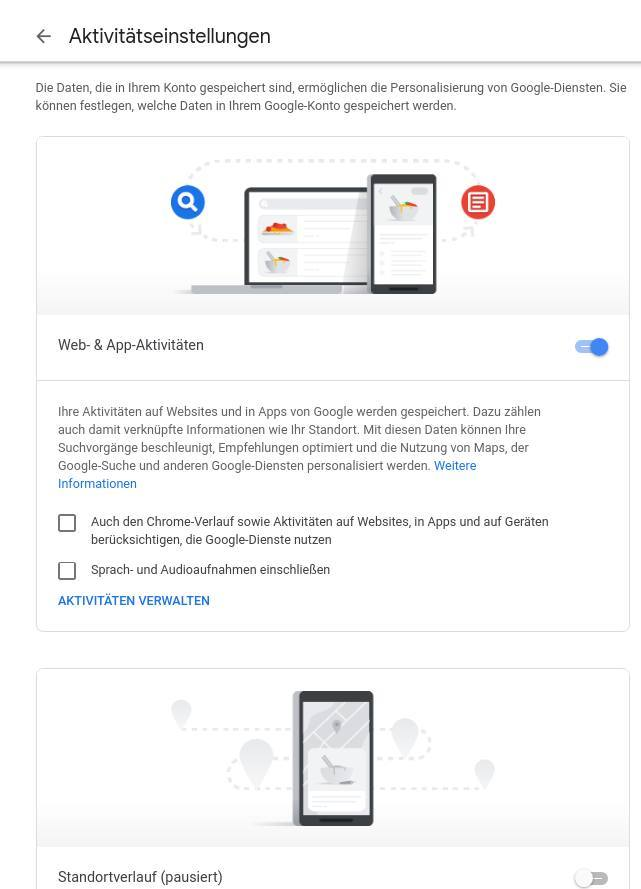 2-google-verlauf-loeschen-Aktivitaetseinstellungen