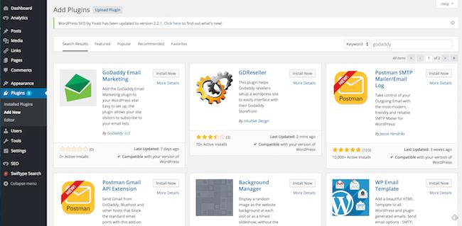 GoDaddy Email Marketing plugin on WordPress dashboard