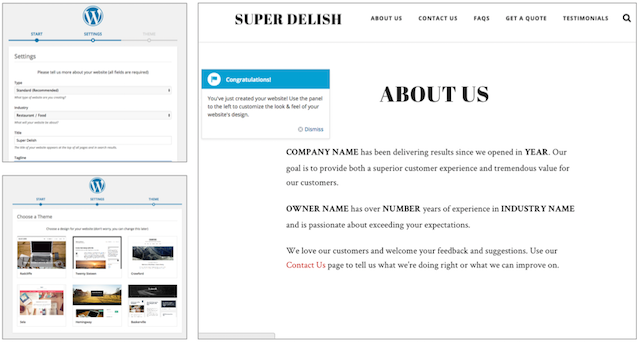 screenshot of Managed WordPress to represent simplicity of WordPress