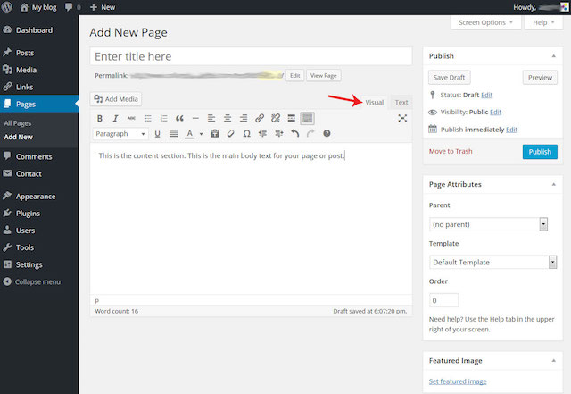 Create a WordPress Page