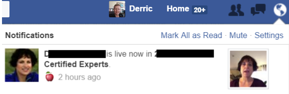 Facebook Live Notification