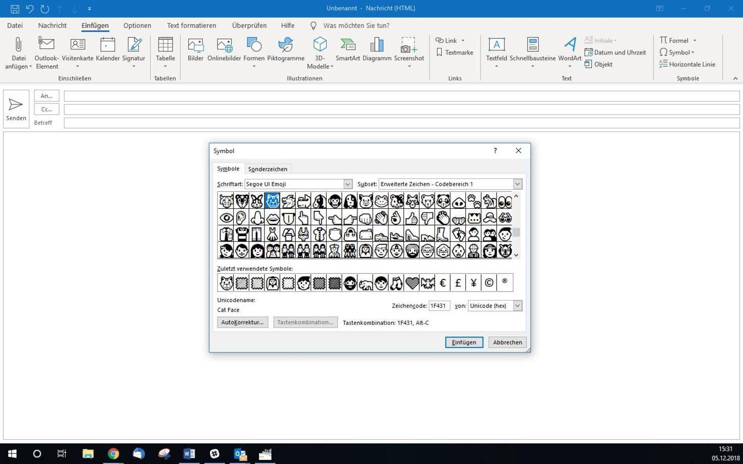 5 Möglichkeiten, wie du Emojis in Outlook integrieren kannst_Emojis-in-outlook-integrieren-per-symbol