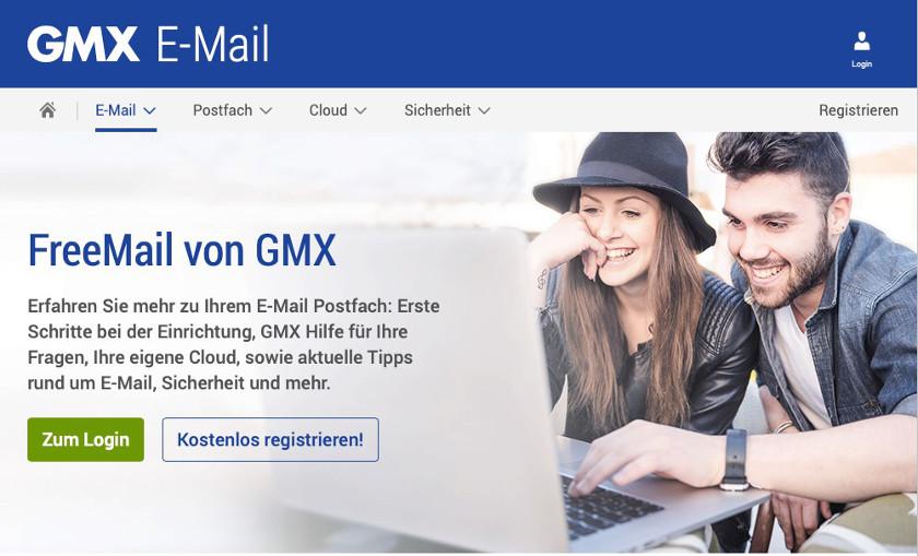 Abbildung2 - Freemail-Provider GMX - Screenshot
