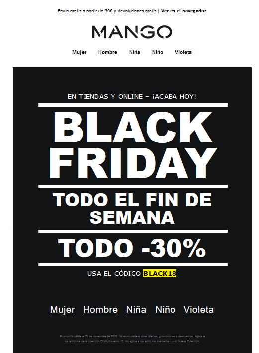 Ejemplo email Mango Black Friday
