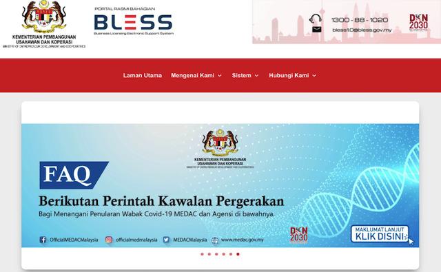 Ministry of Entrepreneur Development BLESS licensing website