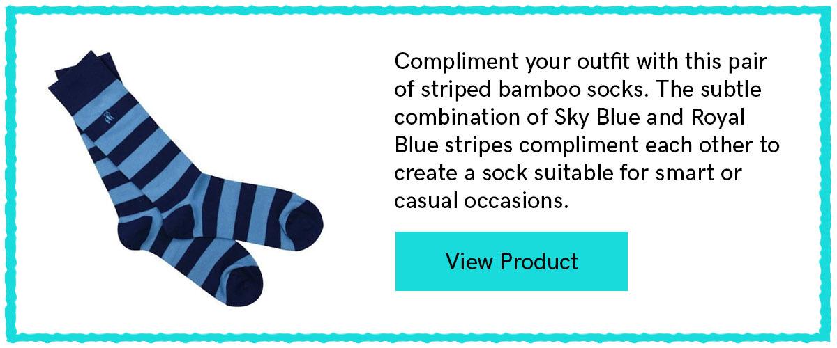 Sky Blue Striped Bamboo Socks From Swole Panda