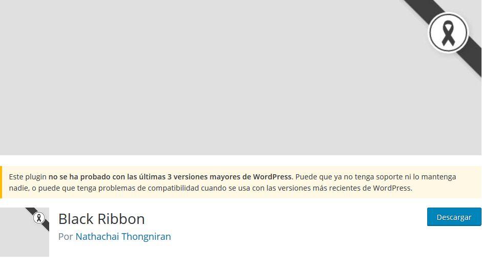 Imagen de Black Ribbon, un plugin WordPress para insertar un lazo negro en cualquier web