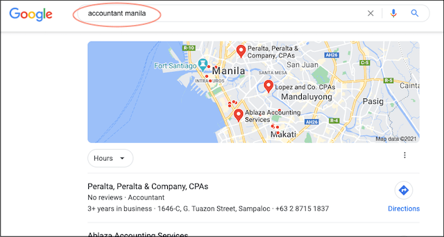 Google search for accountant in Manila