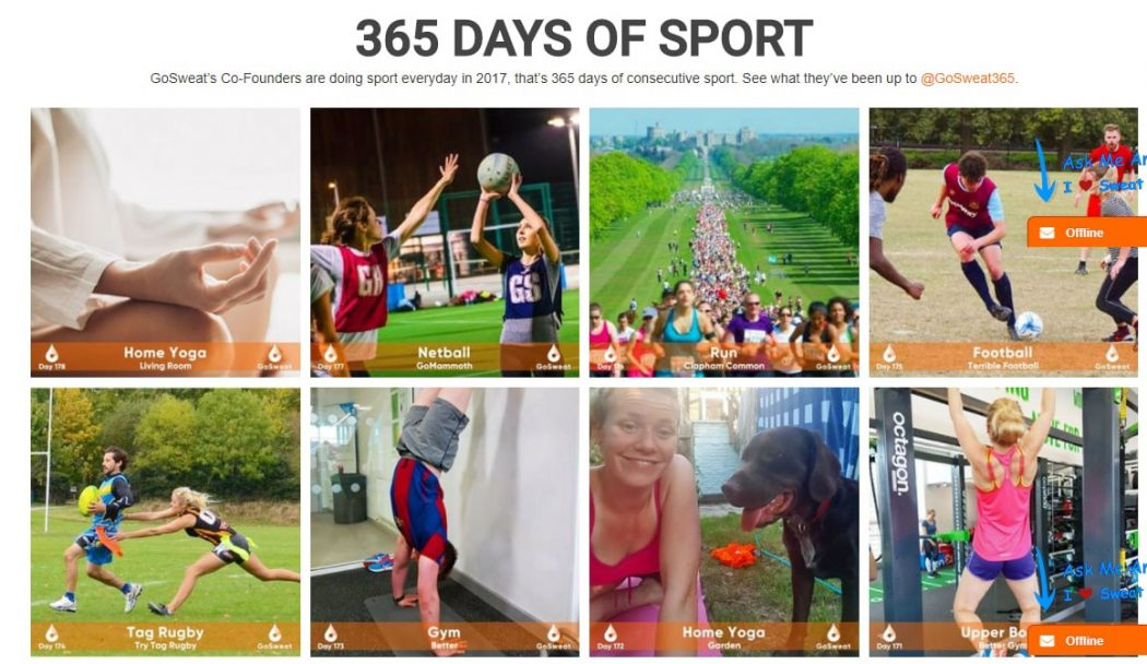 google search gosweat 365 days of sport