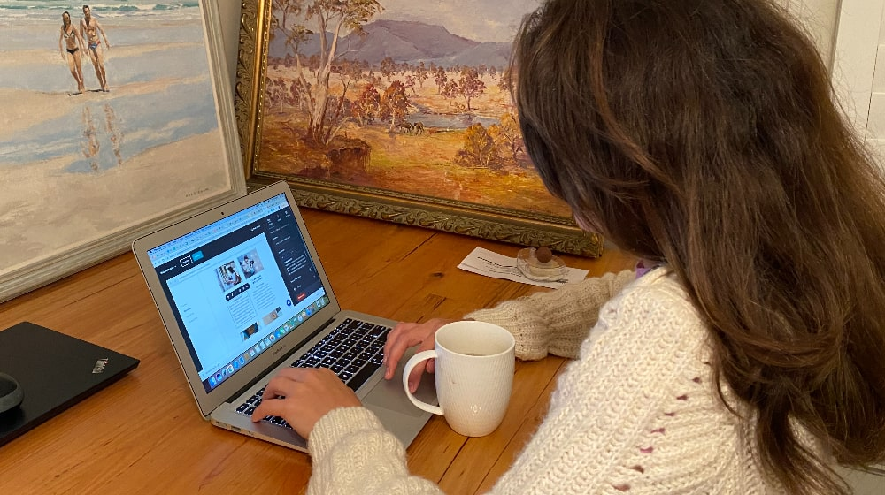 Julia Hamlton at her desk