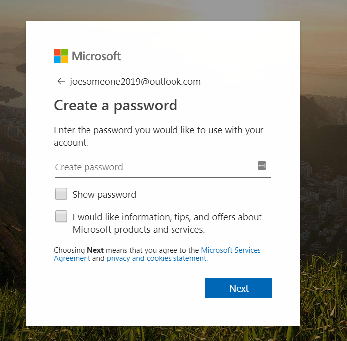 creating a password for a free email account