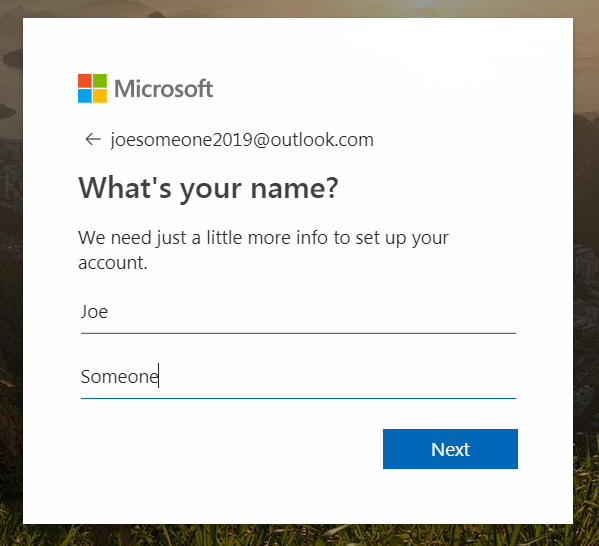 Entering name for free email account
