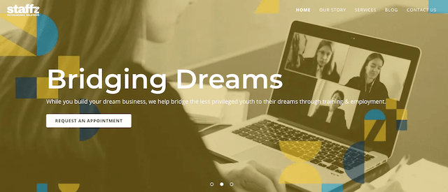 Staffz Website Home Page